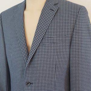 Michael Kors men's blue check sport coat 42L NWOT